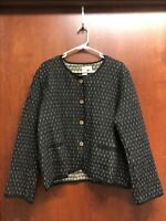 The Territory Ahead Blazer Womens Sz Extra Large Black Brown White Button Jacket