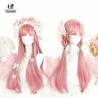 Harajuku Lolita Wigs Long Straight Pink Cosplay Wig Girls Party Halloween Hair