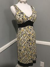 new DIANE VON FURSTENBERG OPHELIA SILK DRESS yellow/black/white, size 4