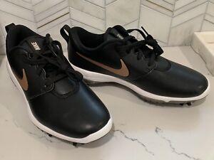 New Nike Roshe G Tour Golf Shoes Black/Gold AR5582-001 Women's Size 8