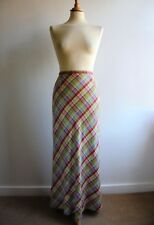 Vintage LAURA ASHLEY Maxi Skirt Green Red Blue Check Size 10 12