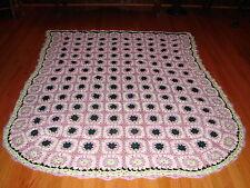 NEW AFGHAN BEDSPREAD ~  Handmade Craft Granny Sq Crochet Throw Blanket Afghan