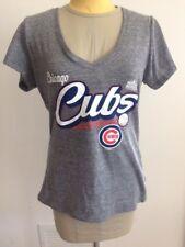 MLB Cubs Chicago Genuine Merch 2016 World Series V-Neck Shirt Logo M Gray NWOT