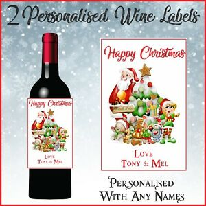 2 Personalised Santa Christmas Wine Bottle Labels for gift or Table Decorations