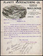 Laporte IN 1904 Planet Manufacturing Co Mouldings history Letter Head Rare