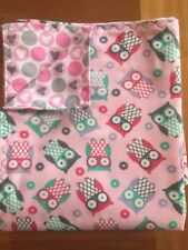Hand Made Adorable Owl Flannel Blanket- Double Thickness
