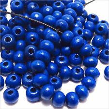 Pack Von 100 Runde Perlen aus Holz 6mm Blau für Halsketten Armbänder Rosenkränze