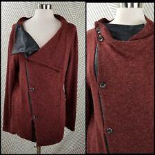 Womens Cardigan Sweater Jacket Size XL Lagenlook Art to Wear Wool faux Leather
