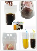 100 Plastic Clear Drink Pouches Bags with Straw Freezable Hand-held Translucent