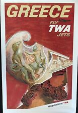 FLY TWA JETS by David Klein original vintage travel poster GREECE 1968