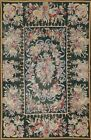 Vintage Needlepoint Floral Chinese Oriental Area Rug Hand-Woven Green Wool 4x7