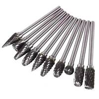 10x Tungsten Carbide Cutting Burr Kit Dremel Drill Bits Rotary Grinder Grinding