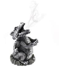 Silver Resin Smoking Dragon Incense Cone Burner Ashcatcher UK SELLER