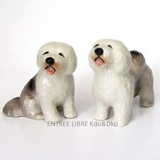2 Miniatures en porcelaine _ CHIEN COLLEY BARBU 4,5cm _ Objet de vitrine Collect