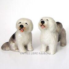 2 Miniatures en porcelaine _ CHIEN COLLEY BARBU 4,5cm _ Objet de vitrine Collect
