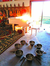 FULL SET Handmade 7 Full Moon Singing Bowls from the Himalaya! A B C D E F G