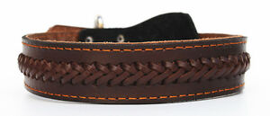 Pet Brown Genuine Real Leather Braided Dog Pet Collar