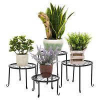 4-in-1 Flower Plant Stand Metal Rack Set Black Garden Shelf Outdoor Indoor Decor