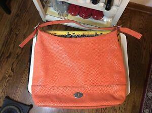 Fossil Hobo Handbag Burnt Orange Leather Faux Snakeprint Purse