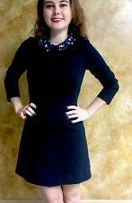 Kate Spade 3/4 Sleeve Black Leopard Print Collar Dress Size 4/6