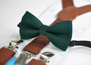 Emerald Green Cotton Bow tie + Brown Elastic Suspenders Braces Men Youth or Boy
