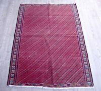 Vintage Handwoven Wool Area Rug 3x4 Rare Anatolian Authentic Red Living Room Rug