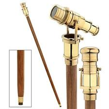 Brass Mechanical Telescope Handle Cane Wood Walking Stick