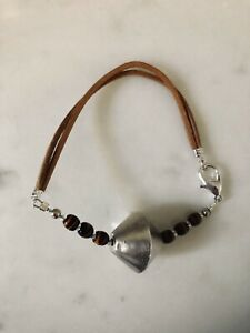 Anthropologie double strand leather, silver and glass bead bracelet - BNWT