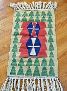 "Authentic Hand Knotted Vintage Konya Turkish  area small rug  Kilim 42"" x18"""