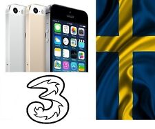 Factory Unlock iPhone 5 5c 5s 6 6s 7 locked to Tre Three 3 Sweden