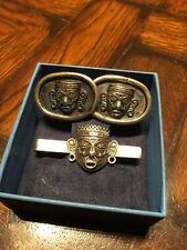 Silver Cuff Links & Tie Clip Vintage Mexican Los Castanares & Bgm Sterling