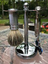 Men's razor, brush & stand set, Chrome, Fusion blade, UK by Edwin Jagger