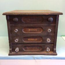 "Oak 4-Drawer Country Store Spool Cabinet 17.5"" W"
