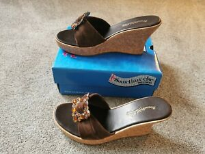 Skechers Brown Chocolate Wedge Open Toe Sandals UK Size 5 Summer Holiday Cruise
