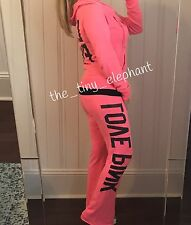 Victoria Secret Love Pink 86 Ombre Full Zip Hoodie Flare Sweatpants Sweats Set S