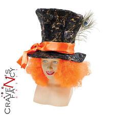 Mad Hatter Sombrero con Cabello Alicia en el país de las maravillas Accesorio Disfraz De Hombre Día Del Libro