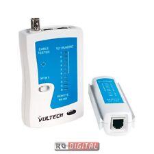 Tester Per Cablaggio Dati e Video Vultech T006 Rj45 Rj11 Rj12 BNC Coassiale