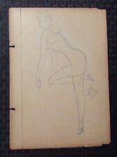 1940's Pin-Up Girl Pencil Art by Mimikos 7.5x11 G/VG 3.0 Short Skirt