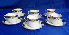 Vtg SHORE & COGGINS LONGTON Superior English Bell China Cup & Saucer - Set of 6