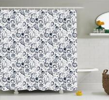 Sea Shells Pattern Shower Curtain Fabric Decor Set with Hooks 4 Sizes Ambesonne