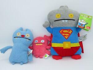 Uglydoll Babo As Superman Gato Gorgeous Plush Stuffed Animal LOT Blue Deluxe Toy