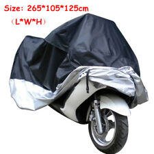 265*105*125cm Motorcycle Motorbike Cover Storage Bag Black Silver UV Protection