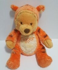Disney Baby Winnie The Pooh Plush Dressed as Tigger Rattle Stuffed Toy RARE 11""