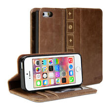 iPhone 5 Case, Book Wallet Case Vintage for iPhone 5 - Brown Cover
