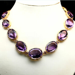"NATURAL VVS PURPLE AMETHYST & WHITE ZIRCON CAMBODIA NECKLACE 22.5"" 925 SILVER"