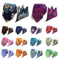 Men Fashion Colorful Paisley Floral Wide Necktie Pocket Square Handkerchief Set