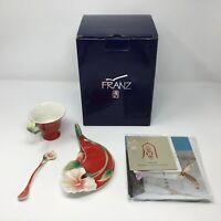 Franz Porcelain Island Hibiscus Flower Sculptured Cup Saucer Spoon Set FZ00129