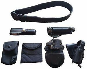 Genuine British Black Nylon Duty Belt Kit With 6 Pouches Sizes S - XXL