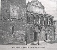 stampa antica old print Benevento facciata del Duomo  1889