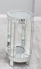 Large Mirrored side table with crushed diamond top, mirrored sparkle lamp table